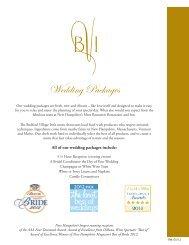 Wedding Packages - Bedford Village Inn