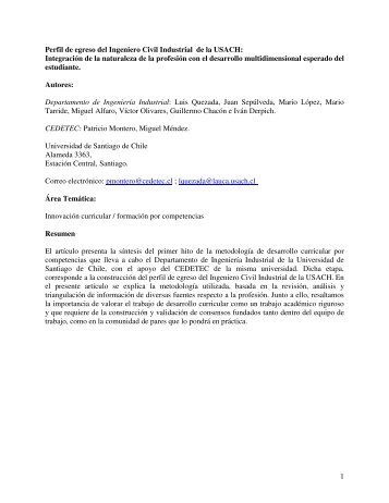 1 Perfil de egreso del Ingeniero Civil Industrial de la USACH ...