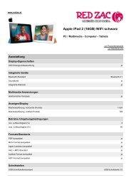 Produktdatenblatt Apple iPad 2 (16GB) WiFi schwarz - Red Zac