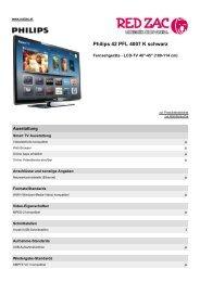 Produktdatenblatt Philips 42 PFL 4007 K schwarz - Red Zac