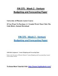 FIN 375 Week 2 Venture Budgeting and Forecasting Paper UOP Students
