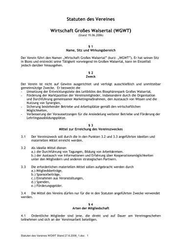 Statuten - Verein Wirtschaft Grosses Walsertal