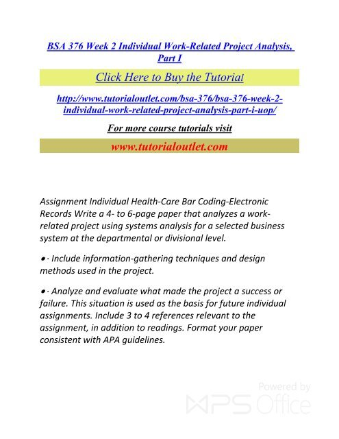Bsa 376 Week 2 Individual Work Related Project Analysis Part I Pdf Tutorialoutlet
