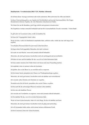 Dankbarkeits- Verzeihensskala (DKS VZS, Matthias Allemend) Sie ...