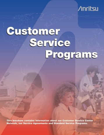 Customer Service Programs Customer Service Programs - Anritsu