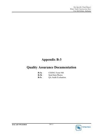 Appendix B-3 Quality Assurance Documentation - Fort McClellan