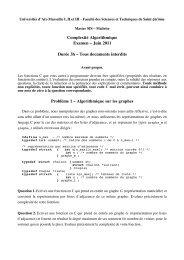 Complexité Algorithmique - Examen de Juin 2011 - LSIS
