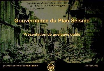 Gouvernance - quelques produits - Le Plan Séisme