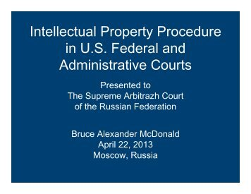 Intellectual Property Procedure in U.S. Federal and Administrative ...