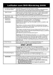 Leitfaden zum SHV-Bürokrieg 2009 - WIT - SHV