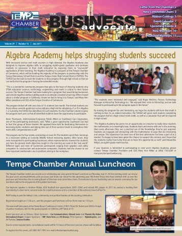 The Business Advocate July 2011 - Tempe Chamber of Commerce
