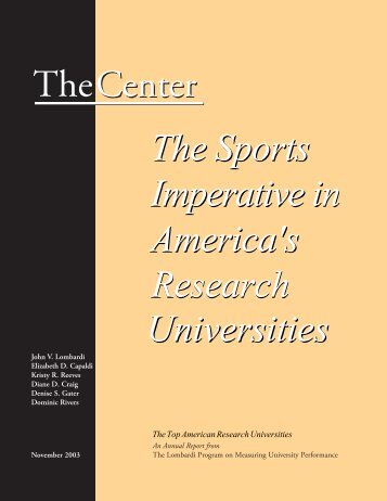 The Sports Imperative in America's Research Universities