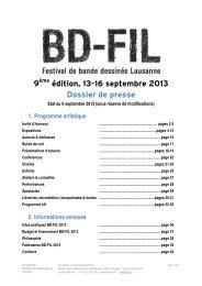 9 édition, 13-16 septembre 2013 Dossier de presse - BD Fil