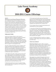 Lake Forest Academy 2010-2011 Course Offerings