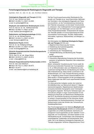 Forschungsschwerpunkt Radiologische Diagnostik und ... - Dkfz
