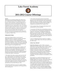 Lake Forest Academy 2011-2012 Course Offerings