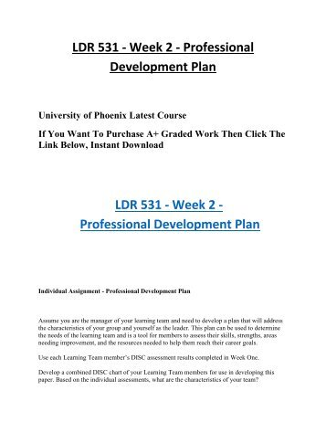 Ldr 531 Week 2 Individual Professional Development Plan