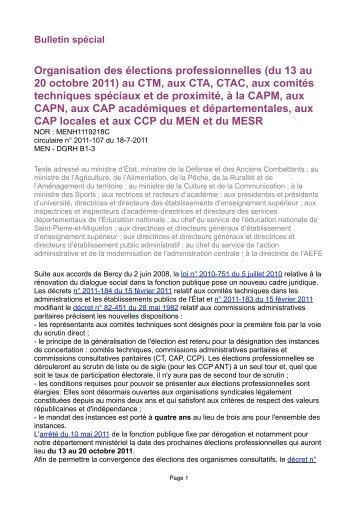 La circulaire du 18 juillet 2011 relative aux élections ... - SNPI