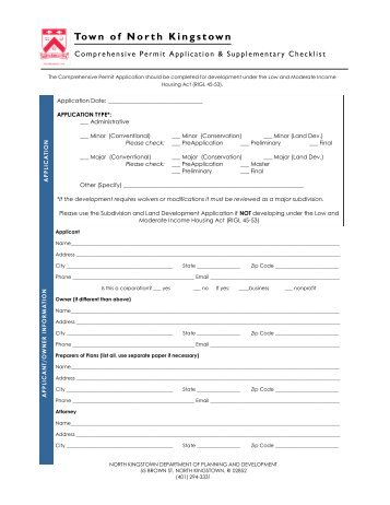 Comprehensive Permit Application and Checklist - North Kingstown ...