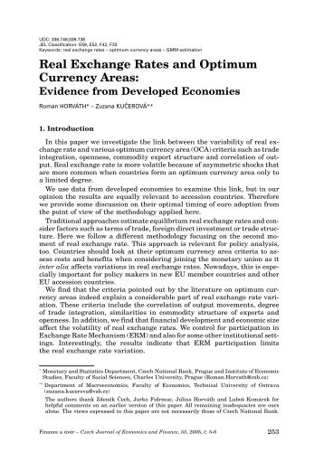 Real Exchange Rates and Optimum Currency Areas: Evidence from ...