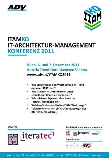 IT-ARCHITEKTUR-MANAGEMENT KONFERENZ 2011 ITAMKO - ADV