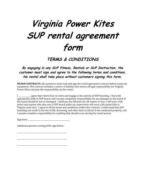 Virginia Power Kites Sup Rental Agreement Form Corecommerce