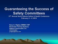 Success of Safety Committees Higbee - the North Dakota Safety ...