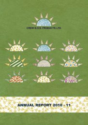 ANNEXURE TO DIRECTORS' REPORT - Crew BOS Products Limited