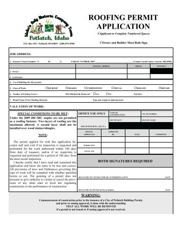 Roofing Permit Application.pdf   City Of Potlatch