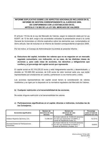informe explicativo sobre los aspectos adicionales ... - Ebro Foods