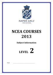 Level 2 Booklet - Napier Girls' High School