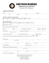 2014 Summer ESL Application Form - Lake Forest Academy