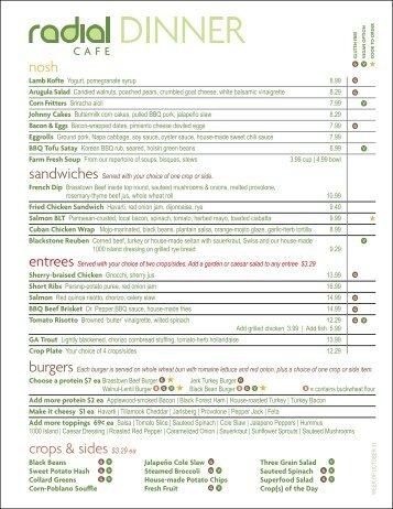 dinner menu - Radial