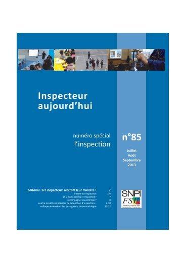 n°85 Inspecteur aujourd'hui - SNPI