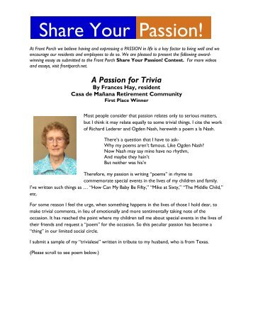 Share Your Passion! Contest Award Winning Essay ... - Front Porch