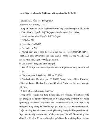 Nước Nga trên báo chí Việt Nam những năm đầu thế kỉ 21 Tác giả ...