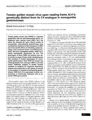 Tomato golden mosaic virus open reading frame AL4 is genetically ...