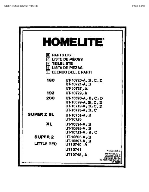 Homelite Chainsaw Parts List 18866 - Barrett Small Engine