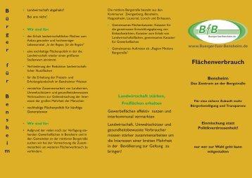 Folder Flächenverbrauch - Bürger für Bensheim