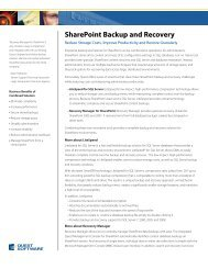 SharePoint Backup and Recovery - Quest Software