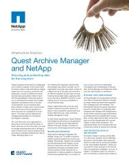 Quest Archive Manager and NetApp - Quest Software
