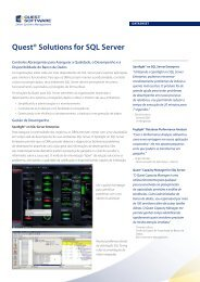 Quest® Solutions for SQL Server - Quest Software
