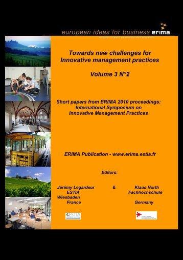Short papers from ERIMA 2010 proceedings - Erima - Estia