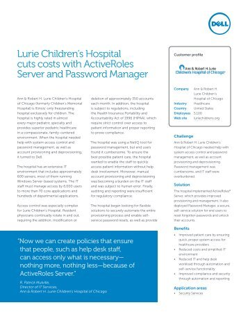 Lurie Children's Hospital cuts costs with ... - Quest Software