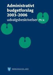 Administrativt budgetforslag 2003-2006 - Region Hovedstaden