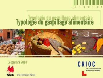 Typologie du gaspillage alimentaire - Crioc
