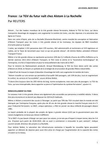 France : le TGV du futur naît chez Alstom à La Rochelle Les Echos ...