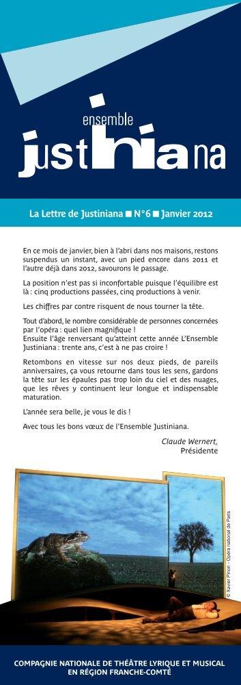 La Lettre de Justiniana N°6 Janvier 2012 - Ensemble Justiniana