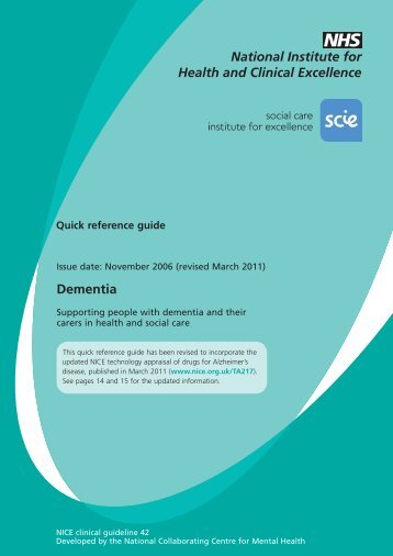 Dementia - National Institute for Health and Clinical Excellence