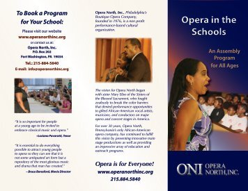 See our brochure - Opera North